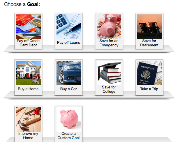 create goals in mint