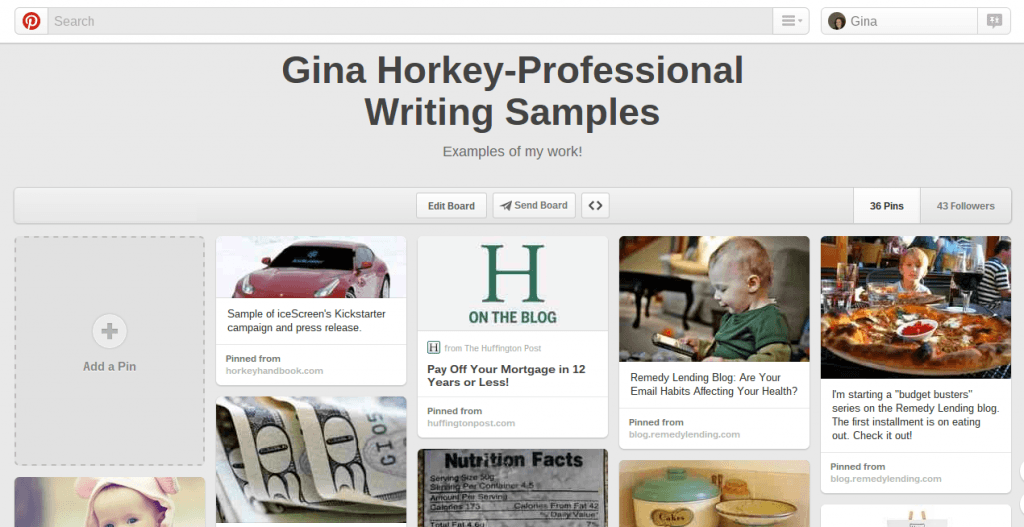Gina Horkey's pinterest writing portfolio