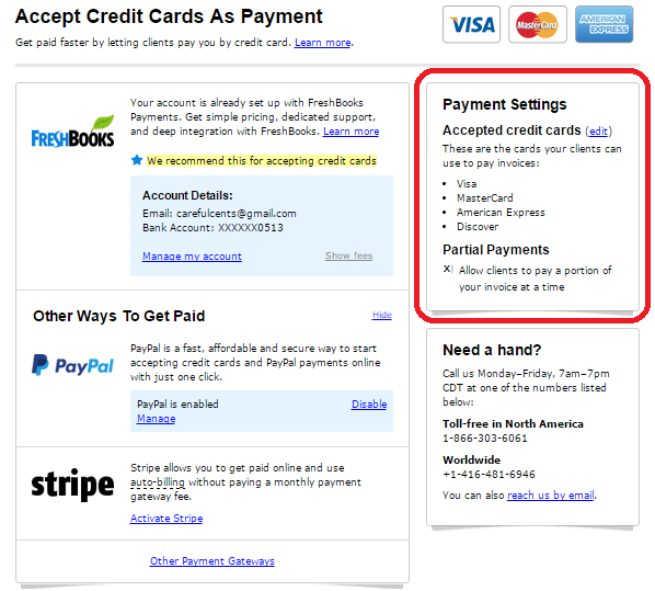 accept credit cards and partial payments