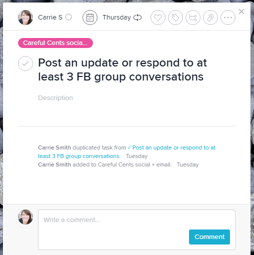 Asana Facebook group recurring task