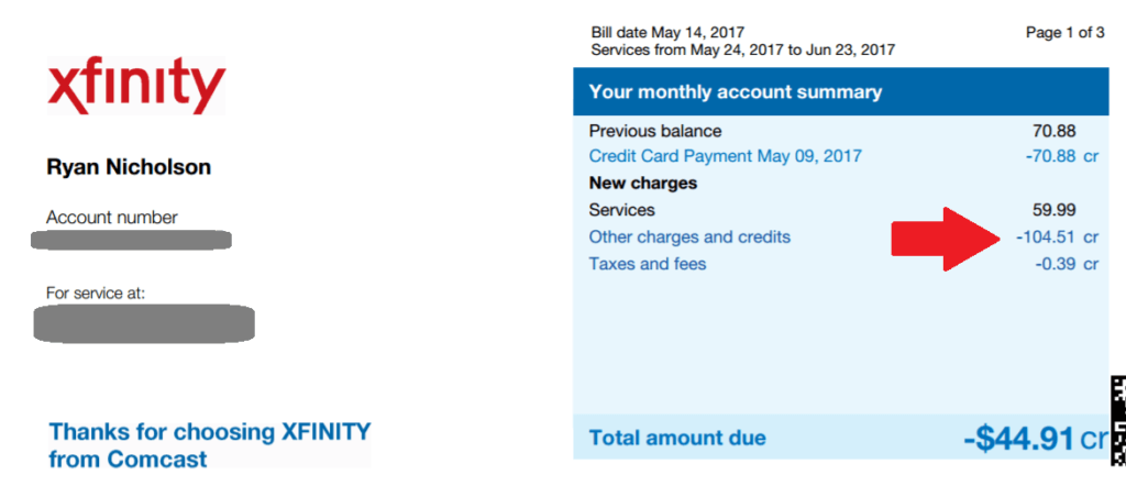 Xfinity BillFixers savings proof