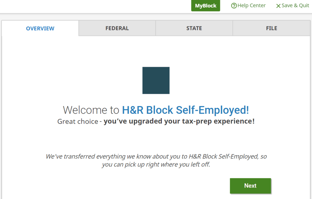 H R Block upgrade online tax filing